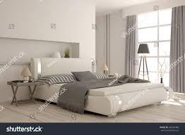 white modern bedroom scandinavian interior design stock