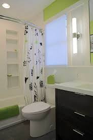 Green And White Bathroom Ideas Straight Vs Curved Shower Rods Shower Rod White Bathrooms And
