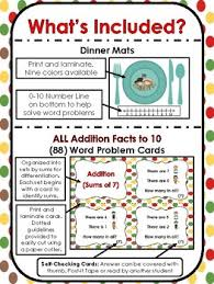 thanksgiving dinner all addition facts to 10 word problem