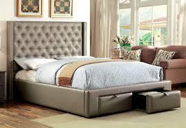 Platform Bed Drawers Furniture Of America Cm7180 Silver Platform Bed W Drawers