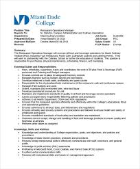 resume format administration manager job profiles restaurant manager job description templates 10 free sle
