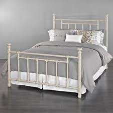 white wrought iron queen bed frame vintage style of d msexta
