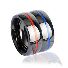 thin blue line wedding band keisha lena mens firefighter ring stainless steel thin blue line