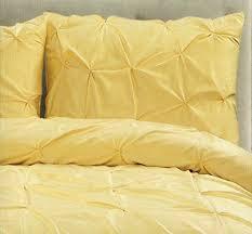 tahari home 3pc king or queen duvet cover set pintuck light yellow