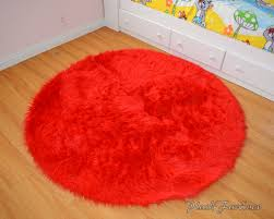 bright red faux fur throw area rug round rug boy kids