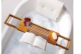 teak bathtub tray caddy luxury book reading stand wine holder side