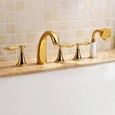 monaco luxury polished gold solid brass bathtub faucet set w