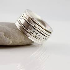 silver mothers ring s day gift mothers spinner ring personalized name spinner