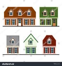 set houses flat design vector illustration stock vector 225786058