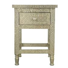 Metal Bedside Table White Metal Embossed Bedside Table House Stuff Pinterest