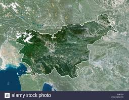 Satellite View Map Slovenia Europe True Colour Satellite Image With Border And Mask