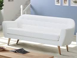 canapé simili blanc canapé 3 places caroline en simili blanc prix promo canapé vente