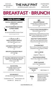 menu for brunch the half pint brunch menu new york city brunch specials nyc