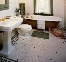 small hexagon shaped floor tiles are a bathroom standard note the