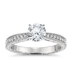 Home Design Diamonds Hand Engraved Micropavé Diamond Engagement Ring In Platinum 1 6