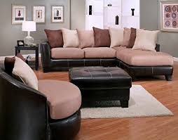 Mocha Ottoman Roundhill Furniture 4 Oxford Sectional Sofa
