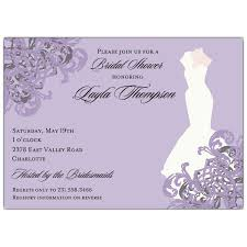 bridal shower invite gown lilac bridal shower invitations paperstyle