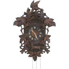 black forest carved bird fox cuckoo clock c 1900 from blacktulip