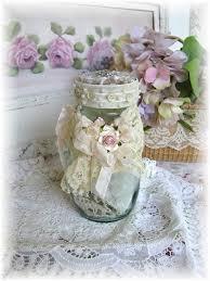 lovely shabby chic jar bottle botlle craft pinterest