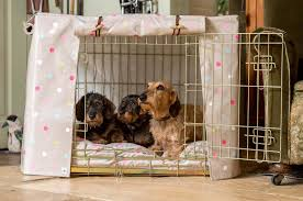 Dog Crate Covers Dog Crate Cover In Taupe Multi Spot Oilcloth By Hidey Hidey