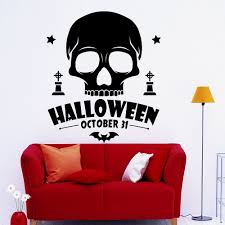 compare prices on skull wall mirror online shopping buy low price cool black skull pattern art wall decals home livingroom holiday special decor skull head with halloween