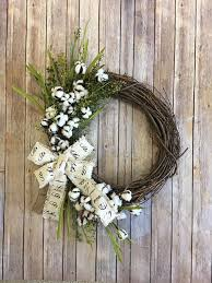 grapevine wreath cotton and grapevine wreath cotton boll wreath with burlap bow and