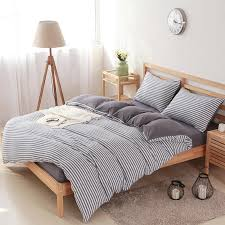 Luxury Bed Linen Sets Comfy Cotton Thick White Stripes Bedding Sets Luxury Bed Sheet Set