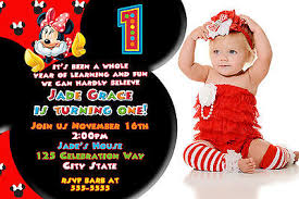 minnie mouse red black 1st birthday party invitation photo