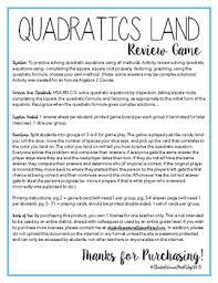 solving quadratic equations review game quadratics land tpt