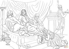jesus washing feet coloring page woman washing jesus feet with her