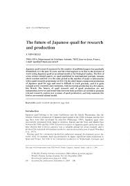 the future of japanese quail for research and production pdf