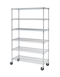 Shelves On Wheels by Metal Storage Shelves With Wheels Amazon Com