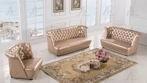 Luxury Leather Sofa Sets American Eagle Ae590 3pcs Rose Gold Faux Leather Sofa Set