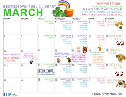 kids calendar of events for march 2017 georgetown public library