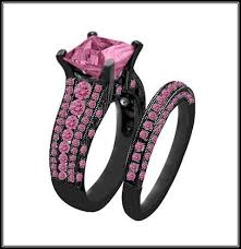 black and pink wedding rings black gold with pink engagement rings more