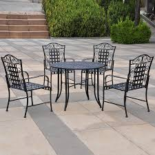 Wrought Iron Dining Room Chairs Shop International Caravan Mandalay 5 Piece Black Wrought Iron