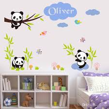 Custom Babys Name Wall Stickers Creative DIY Panda Bamboo Art - Kids rooms decals