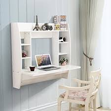floating desk design amazon com mecor floating desk with storage wall mounted design for