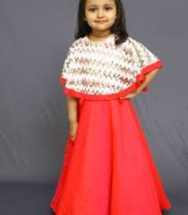 buy red color one piece with sequence cape kid online beautiful