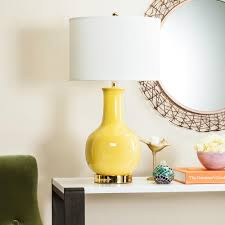 Lamp Harp Home Depot by Safavieh 27 5 In Yellow Ceramic Paris Lamp With White Shade
