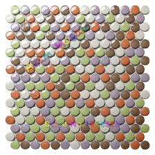 penny round tile rainbow colour mosaic tiles bedroom wall kitchen