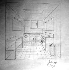 Kitchen Drawings 1 Point Perspective Room 09 Perspektif Pinterest Perspective