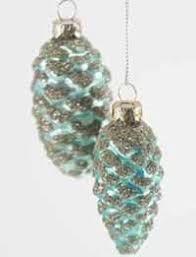 vintage glass ornament aqua pinecone i a set of