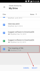 how to create a shortcut to a google doc or sheet on your android