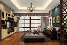 south korea living room decoration with wooden partition 3d house