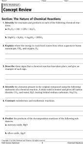 Chemistry Review Worksheet Answers Identifying Reaction Types And Balancing Chemical Equations