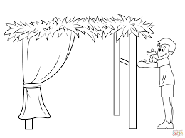 building a sukkah for sukkot coloring page free printable
