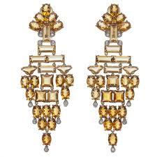 Citrine Chandelier Earrings Stunning Citrine White And Yellow Gold Chandelier Earrings