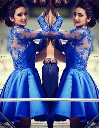 cute royal blue long sleeve homecoming dress a line lace short