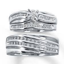 wedding ring trio sets diamond trio wedding set 1 3 ct tw cut sterling silver